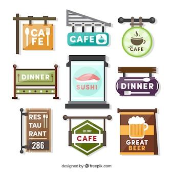 Coleção de pôsteres de café e restaurante