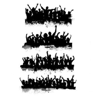 Coleção de quatro diferentes cenas de multidão grunge