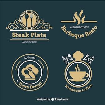 Coleção de retro emblemas restaurante