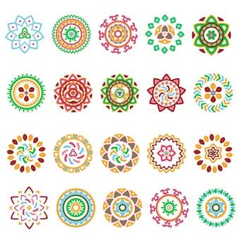 Coleção de rodada geométrica elementos decorativos étnicos coloridos brilhantes
