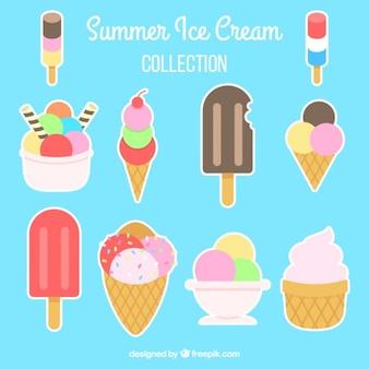 Coleção de rótulo de sorvete colorido