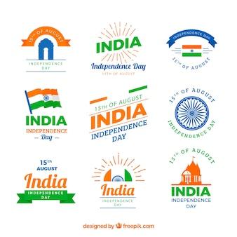 Coleção de rótulos para o dia da independência indiana
