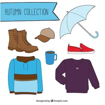 Coleção de roupas de outono com acessórios