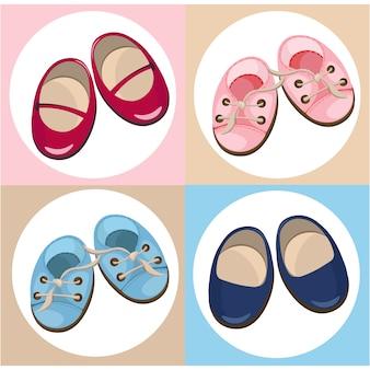 Coleção de sapatos de bebê