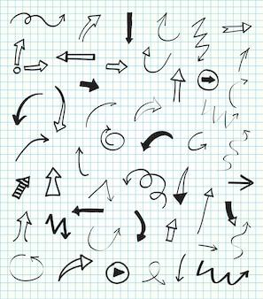 Coleção de setas desenhadas a mão