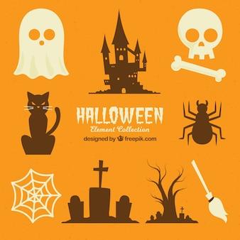 Coleção de silhuetas de Halloween