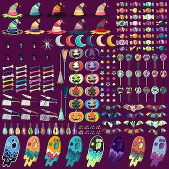 Coleção de símbolos do Dia das Bruxas. Ilustração vetorial abstrata.