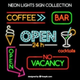 Coleção de sinais de néon