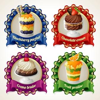 Coleção de sobremesa emblemas