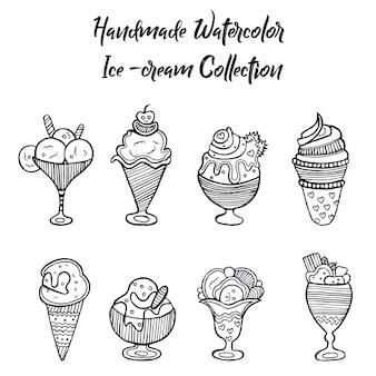 Coleção de sorvete desenhada a mão