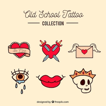 Coleção de tatuagem da velha escola colorida