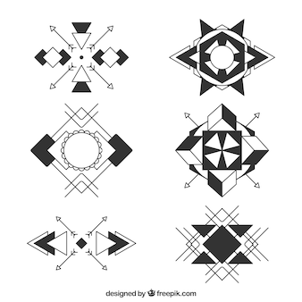 Coleção de tatuagem de símbolos geométricos abstratos