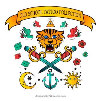 Coleção de tatuagem vintage desenhada a mão