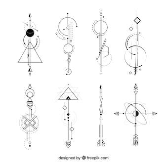Coleção de tatuagens com formas abstratas