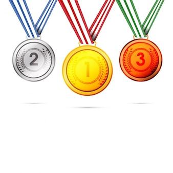 Coleção de três medalhas de metal