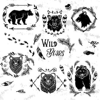Coleção de ursos decorativos rústicos com elementos do projeto floral
