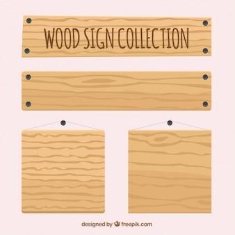 Coleção de vários sinais de madeira vazias
