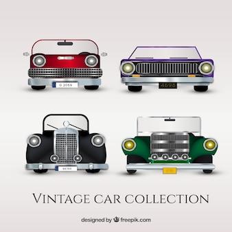 Coleção de veículos antigos em design plano