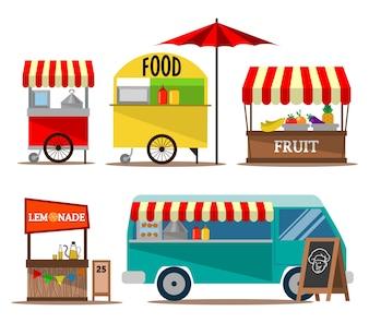 Coleção de vendedor de comida de rua
