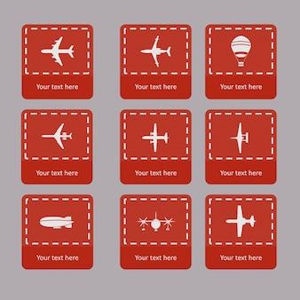 Coleção de vetores diferentes silhuetas de avião.