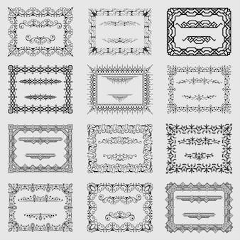 Coleção de vetores quadros vintage quadrado