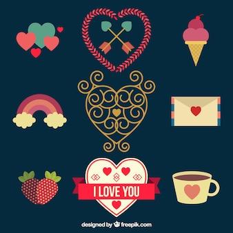 Coleção decorativa de elementos planos para o Dia dos Namorados