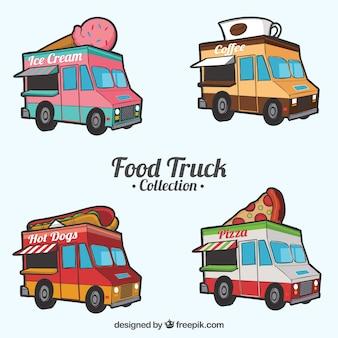 Coleção desenhada a mão de caminhões de comida divertidos