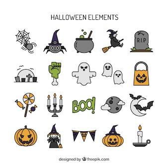 Coleção desenhada mão elementos de Halloween
