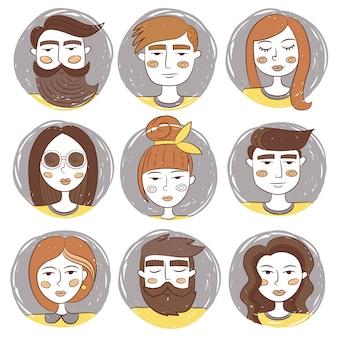 Coleção desenhados mão avatares