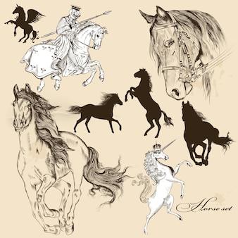 Coleção desenhados mão cavalos