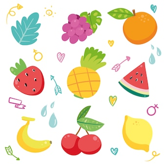 Coleção desenhados mão frutas