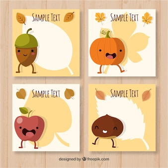 Coleção divertida de cartões de outono com elementos sorrisos