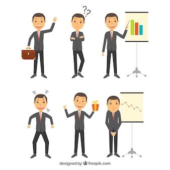 Coleção do caráter do homem de negócios expressivo em vários posturas
