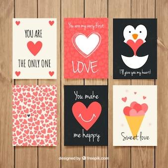 Coleção do cartão de amor com desenhos encantadores