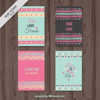 Coleção do cartão de amor com formas