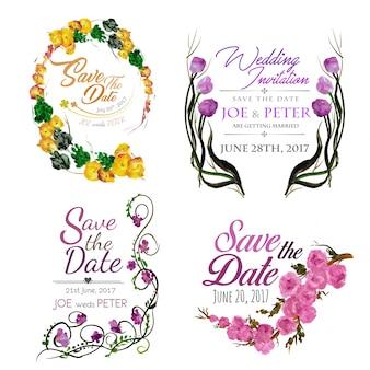 Coleção do convite do casamento da aguarela