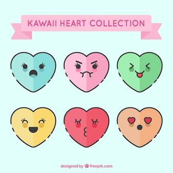 Coleção do coração Kawaii