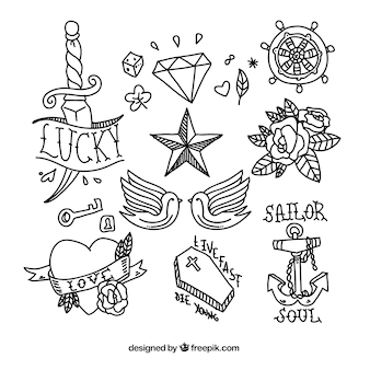 Coleção do doodle do tatuagem