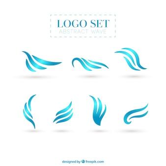 Coleção do logotipo abstrato da onda