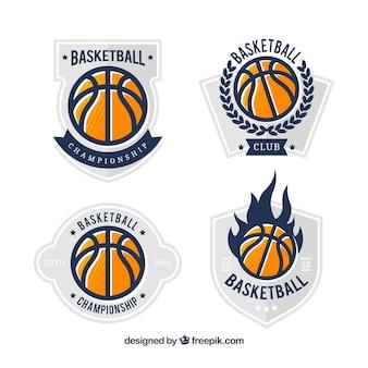 Coleção do logotipo da bola do basquetebol