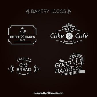 Coleção do logotipo da padaria elegante