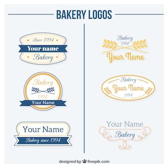Coleção do logotipo da padaria no estilo retro