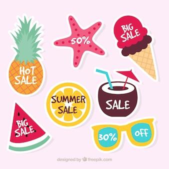 Coleção do logotipo da venda do verão