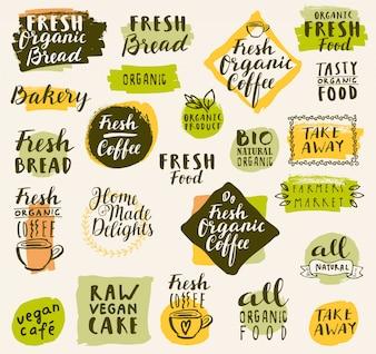 Coleção do logotipo do café orgânico