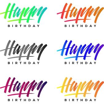 Coleção do logotipo do feliz aniversario
