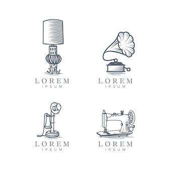 Coleção do logotipo do vintage