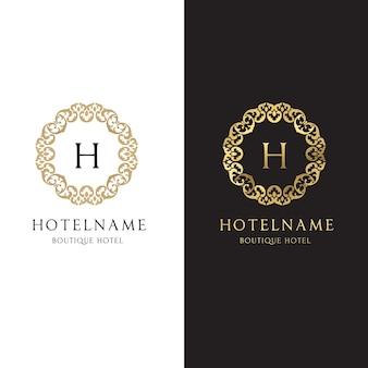 Coleção do logotipo dourado do hotel