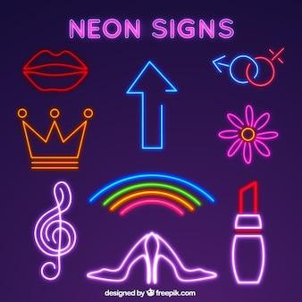 Coleção do sinal da luz de néon