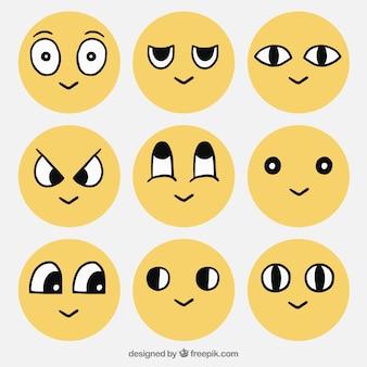 Coleção do smiley com olhos desenhados mão