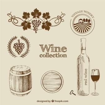 Coleção do vinho no estilo desenhado mão
